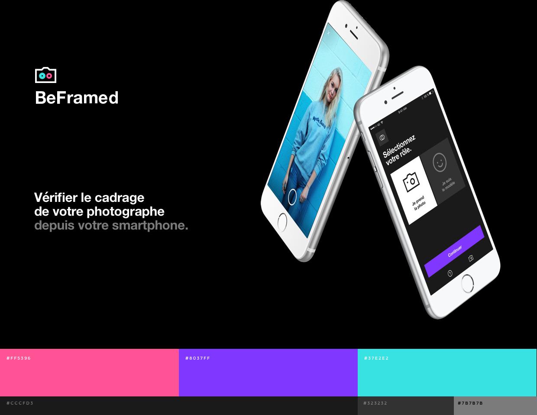 Visuel du logo de Beframed et sa palette de couleurs