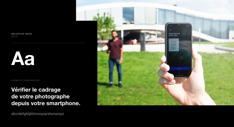 Visuel de la typographie helvetica neue utilisée dans l'app et mise en scène d'une prise de photo avec l'app.