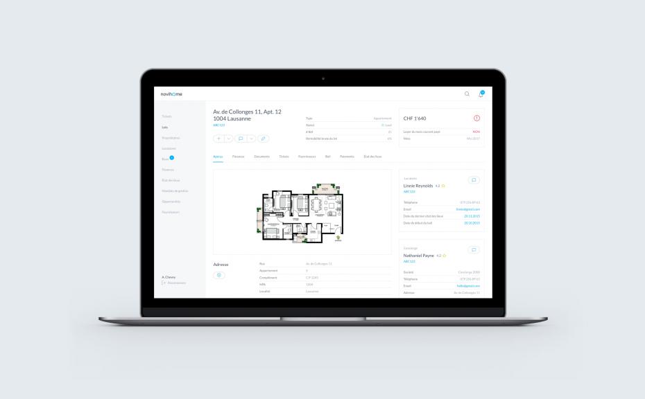 Dashboard de la plateforme de gestion immobilière Novihome