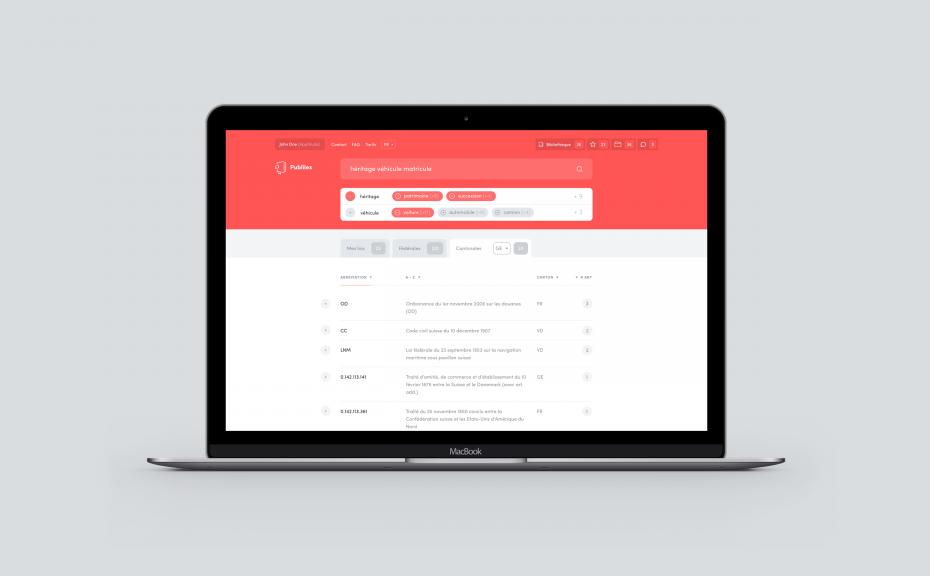 Site Internet du moteur de recherche juridique Publilex